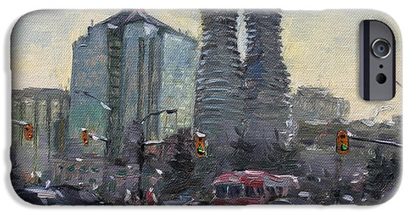 Toronto Paintings iPhone Cases - Busy Morning in Downtown Mississauga iPhone Case by Ylli Haruni
