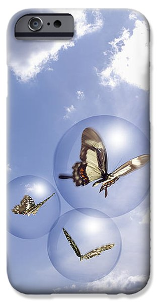 Butterflies and bubbles iPhone Case by Tony Cordoza