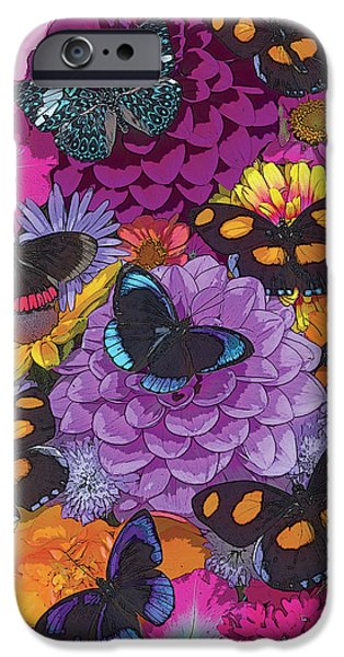 Digital Paintings iPhone Cases - Butterflies and Flowers 2 iPhone Case by JQ Licensing