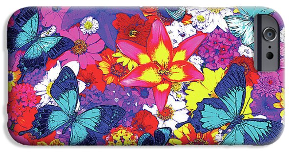 Butterflies Paintings iPhone Cases - Butterflies and Flowers iPhone Case by JQ Licensing