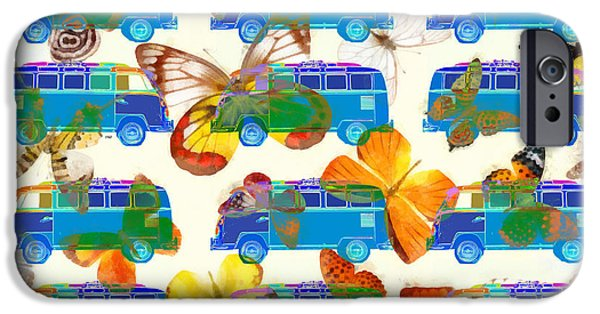Colorful Abstract Photographs iPhone Cases - Butterflies and Surfer Vans iPhone Case by Edward Fielding