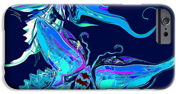 Colorful Abstract iPhone Cases - Butterflies Dance on Blue iPhone Case by Stephen  Killeen