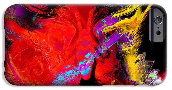 Red Abstract iPhone Cases - Butterflies Dream in Color iPhone Case by Stephen  Killeen