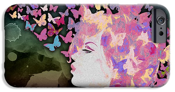 Lips iPhone Cases - Butterflies In My Head iPhone Case by Andrea Ribeiro