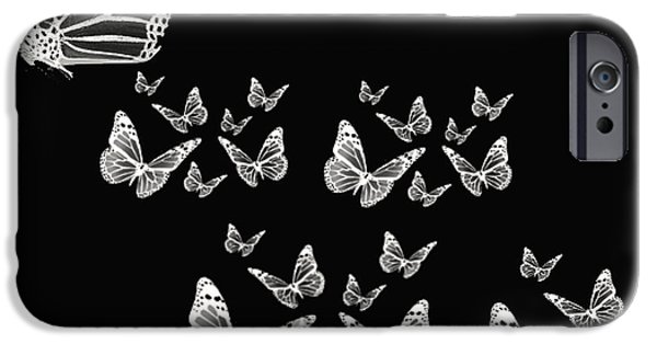 Black And White Photographs iPhone Cases - Butterflies iPhone Case by Lourry Legarde