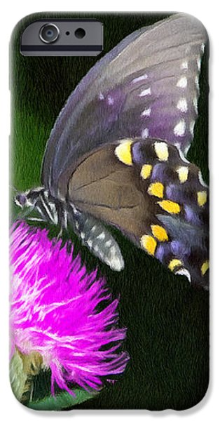 Butterfly and Thistle iPhone Case by Jeff Kolker