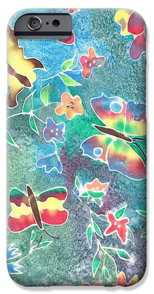 Insects Tapestries - Textiles iPhone Cases - Butterfly Batik iPhone Case by Sally Taylor