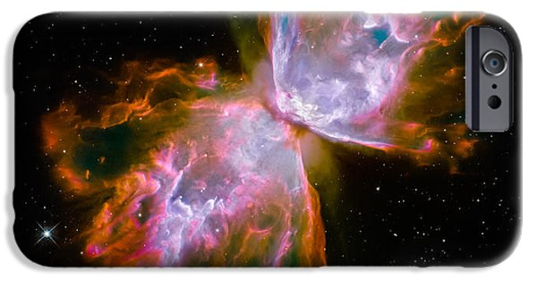 Constellations iPhone Cases - Butterfly Emerges from Stellar Demise iPhone Case by Marco Oliveira