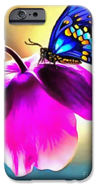 Floral Digital Art Digital Art iPhone Cases - Butterfly Floral iPhone Case by Catherine Lott