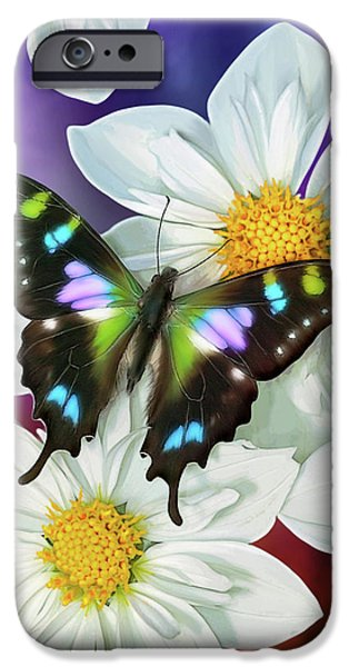Butterflies Paintings iPhone Cases - Butterfly Flowers iPhone Case by JQ Licensing