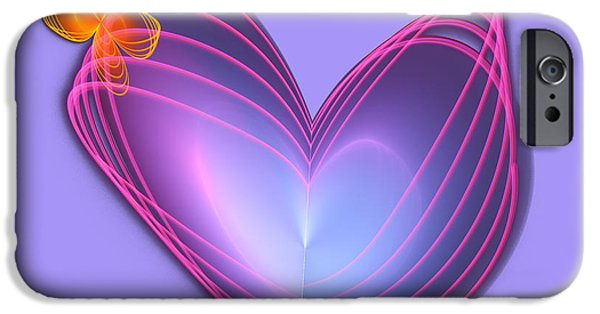 Abstract Digital Art iPhone Cases - Butterfly Heart iPhone Case by Jane Spaulding