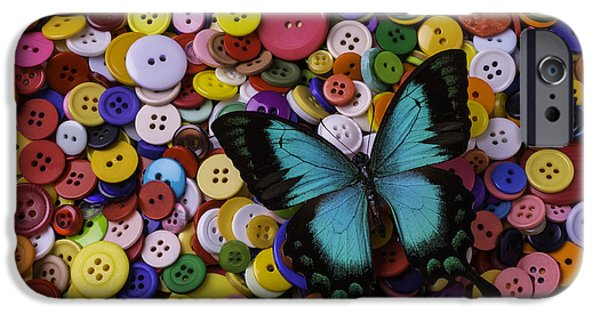Disk iPhone Cases - Butterfly On Buttons iPhone Case by Garry Gay