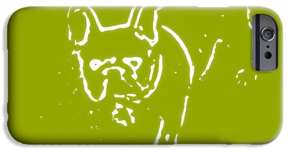 Modernart iPhone Cases - Denim the Frenchie iPhone Case by Heather Joyce Morrill