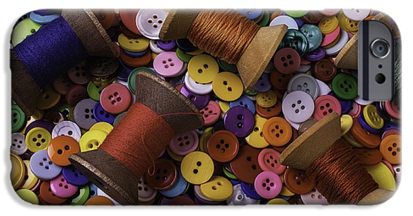 Disk iPhone Cases - Buttons With Thread iPhone Case by Garry Gay