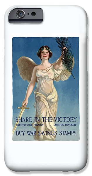 World War One Digital Art iPhone Cases - Buy War Savings Stamps iPhone Case by War Is Hell Store