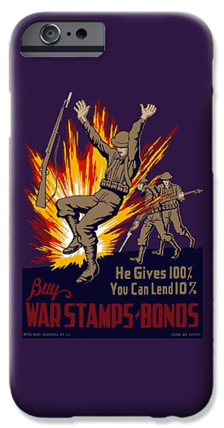 Soldiers Digital iPhone Cases - Buy War Stamps And Bonds iPhone Case by War Is Hell Store