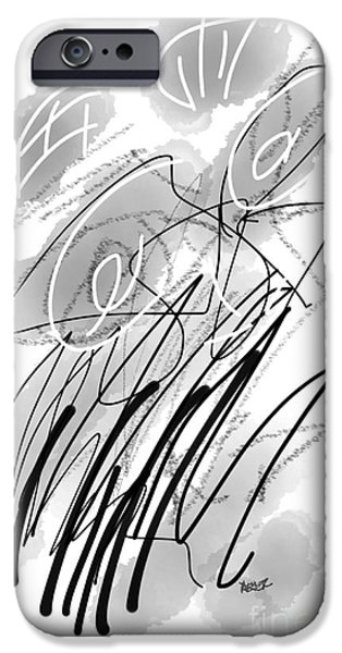 Loose Style Drawings iPhone Cases - BW Abstract 10161 iPhone Case by Robert Yaeger