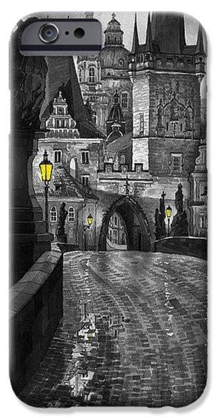 BW Prague Charles Bridge 03 iPhone Case by Yuriy  Shevchuk