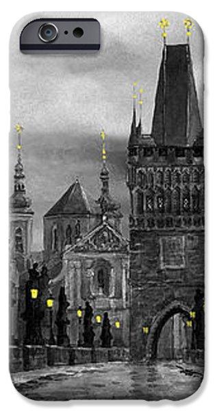 BW Prague Charles Bridge 04 iPhone Case by Yuriy  Shevchuk