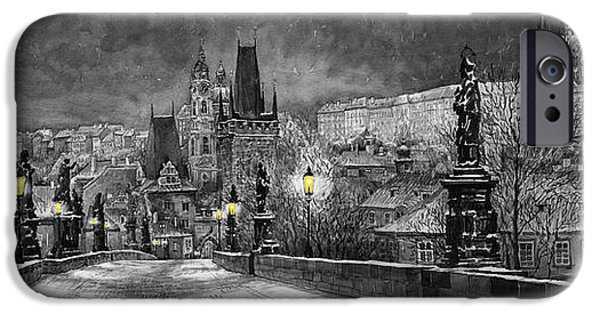 Architecture Digital iPhone Cases - BW Prague Charles Bridge 06 iPhone Case by Yuriy  Shevchuk