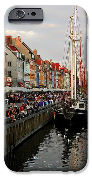 Tall Ship iPhone Cases - By The Canal In Nyhavn iPhone Case by Kenan Tekin