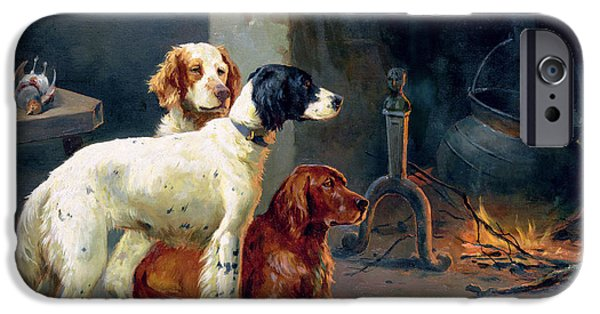 Working Dogs iPhone Cases - By the Fire iPhone Case by Alfred Duke