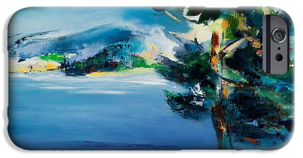 Pines iPhone Cases - By the Lake iPhone Case by Elise Palmigiani