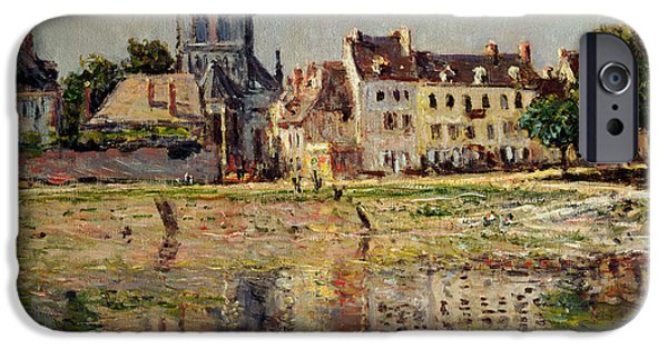 Gothic iPhone Cases - By the River at Vernon iPhone Case by Claude Monet