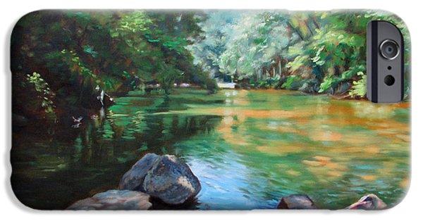 Business Paintings iPhone Cases - By the River iPhone Case by Bonnie Mason