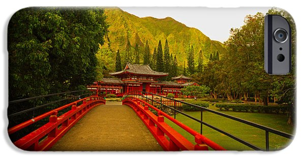 Buddhist iPhone Cases - Byodo-In Temple iPhone Case by Cheryl Young