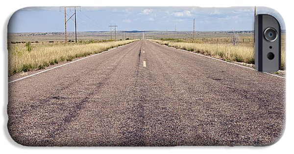 Stripes iPhone Cases - Endless Road, Route 66 Near Santa Rosa, New Mexico iPhone Case by Rick Pisio