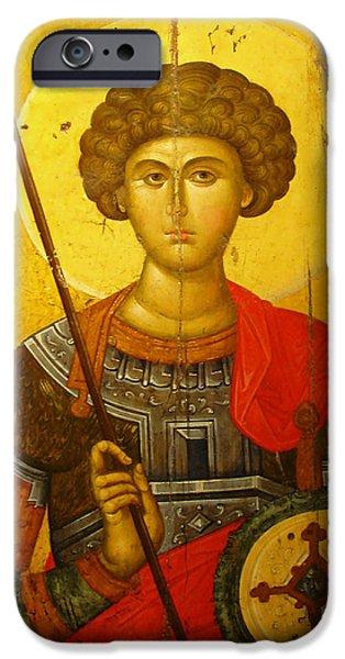 Byzantine iPhone Cases - Byzantine Knight iPhone Case by Ellen Henneke
