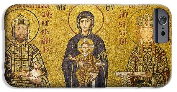 Byzantine iPhone Cases - Byzantine Mosaic in Hagia Sophia iPhone Case by Artur Bogacki