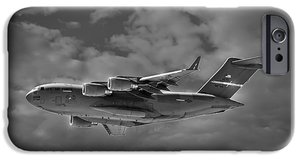 Jet Star iPhone Cases - C-17 Globemaster III BWS iPhone Case by Mark Myhaver