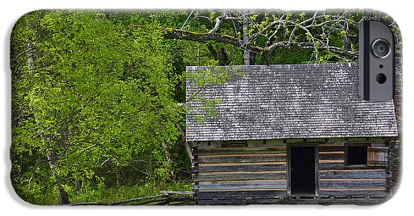 Historic Site iPhone Cases - Cabin at Zebulon Vance Birthplace iPhone Case by Bruce Gourley