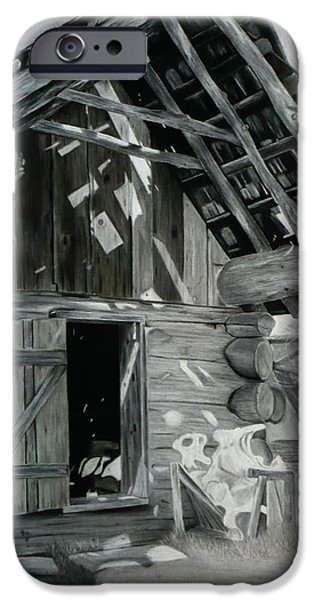 Shed Drawings iPhone Cases - Cabin Barn iPhone Case by Nicholas Nguyen