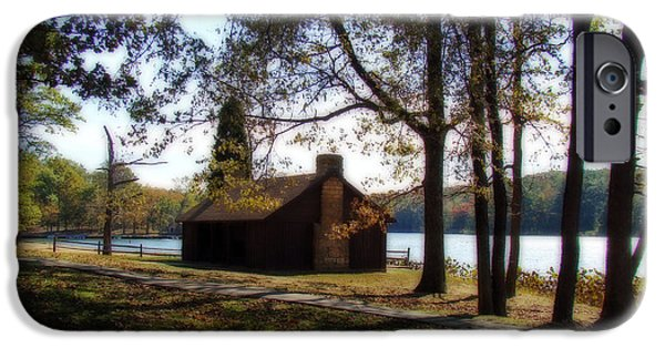 Indiana Landscapes iPhone Cases - Cabin by the Lake iPhone Case by Sandy Keeton
