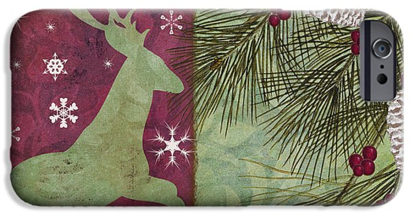 Log Cabins iPhone Cases - Cabin Christmas II iPhone Case by Mindy Sommers