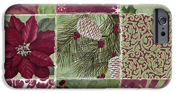 Snow Flake iPhone Cases - Cabin Christmas Patchwork iPhone Case by Mindy Sommers