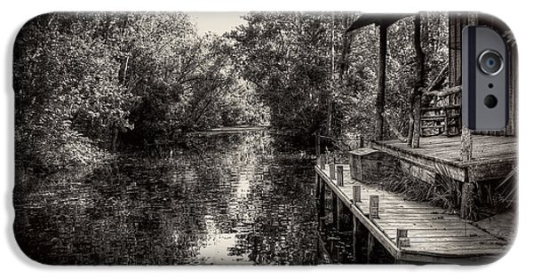 Sun Porch iPhone Cases - Cabin In The Swamp In Black and White iPhone Case by Greg Mimbs