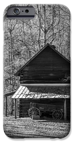 Old Barns iPhone Cases - Cabin in the Woods - Black and White iPhone Case by Brent Paape