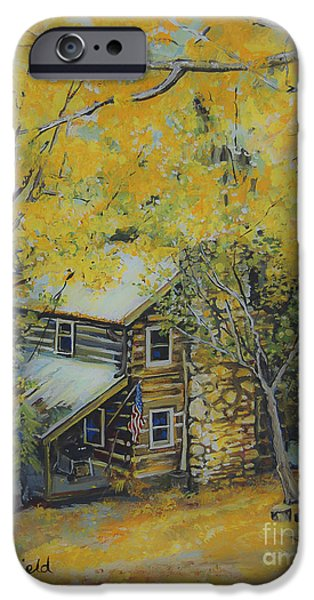 Smokey Mountains Paintings iPhone Cases - Cabin in the woods iPhone Case by Johnnie Stanfield