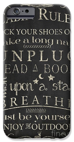 Cabin iPhone Cases - Cabin Rules I iPhone Case by Mindy Sommers