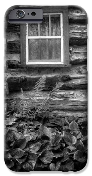 Cabin Window iPhone Cases - Cabin Window in Black and White iPhone Case by Greg and Chrystal Mimbs