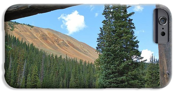 Cabin Window iPhone Cases - Cabin with a View 2 iPhone Case by Tonya Hance