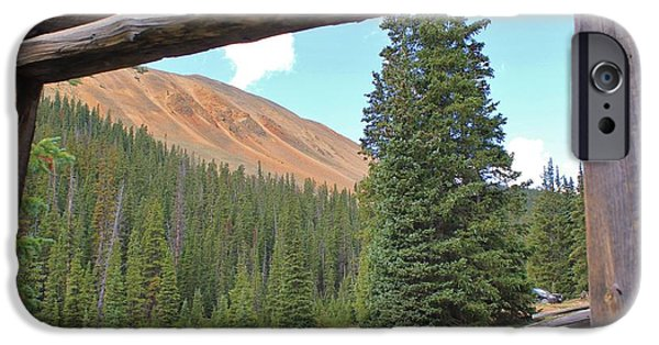 Cabin Window iPhone Cases - Cabin with a View 3 iPhone Case by Tonya Hance
