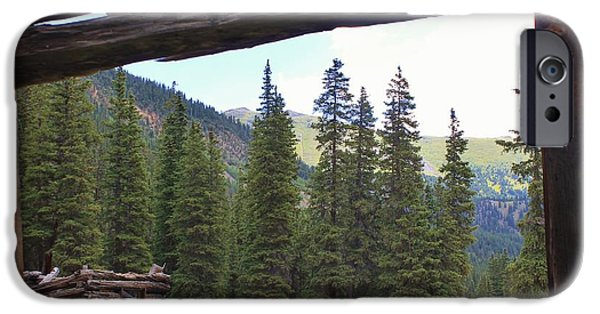 Cabin Window iPhone Cases - Cabin with a View iPhone Case by Tonya Hance
