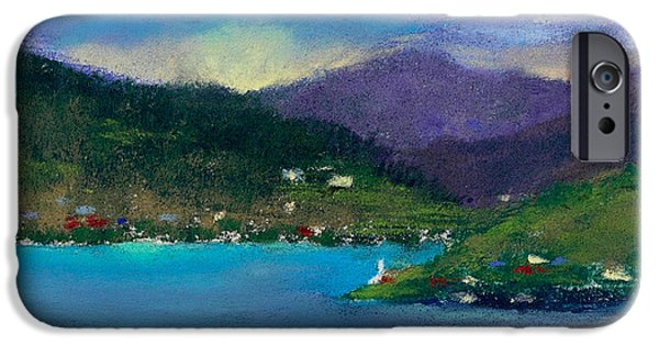 Clouds Pastels iPhone Cases - Cabins on the Lake iPhone Case by David Patterson