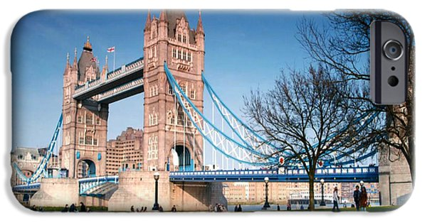 Bay Bridge Mixed Media iPhone Cases - Cable-stayed Walk way over bridge in London iPhone Case by Navin Joshi