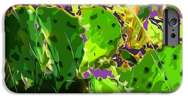 Abstract Digital Photographs iPhone Cases - Cactus Abstract iPhone Case by Norman Johnson